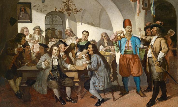 Målning föreställande ett kaffehus i Venedig på 1600-talet.